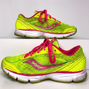 Saucony Outduel Size 6.5 Pink Neon Yellow Sneakers